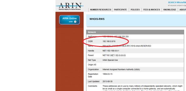 ARIN CIDR Range